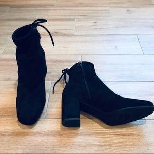 Franco Sarto Pisces Black Suede Ankle Boots